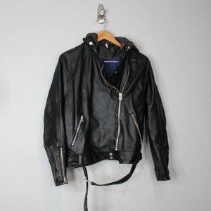 Free People Faux Vegan Leather Hooded Moto Jacket
